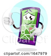 Cell Phone Mascot Character With A Map On The Screen
