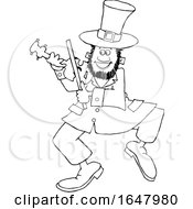 Cartoon Black And White St Patricks Day Leprechaun Playing A Fiddle