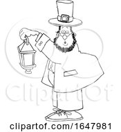 Cartoon Black And White St Patricks Day Leprechaun Holding A Lantern