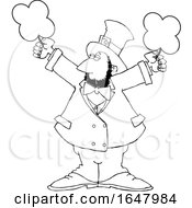 Cartoon Black And White St Patricks Day Leprechaun Holding Shamrocks
