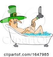 Cartoon St Patricks Day Leprechaun Taking A Bath