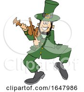 Cartoon St Patricks Day Leprechaun Playing A Fiddle