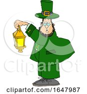 Cartoon St Patricks Day Leprechaun Holding A Lantern
