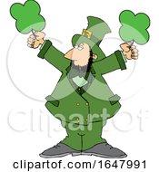 Cartoon St Patricks Day Leprechaun Holding Shamrocks