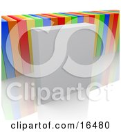Blank White Product Box In Front Of Colorful Boxes Clipart Illustration Graphic