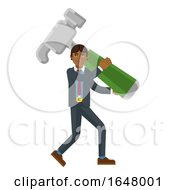 Asian Business Man Holding Hammer Mascot Concept