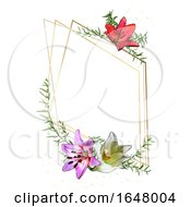 Poster, Art Print Of Watercolor Floral Frame Background