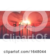 3D Wind Turbines In The Sea Against A Sunset Sky