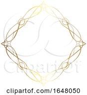 Poster, Art Print Of Diamond Shaped Ornate Golden Frame