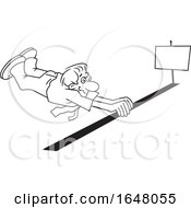 Cartoon Black And White Business Man Barely Crossing The Finish Line