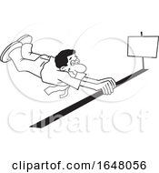 Cartoon Lineart Black Business Man Barely Crossing The Finish Line