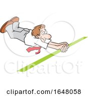 Cartoon White Business Man Barely Crossing The Finish Line