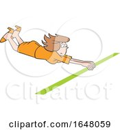 Cartoon White Business Woman Crossing The Finish Line