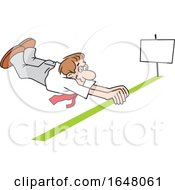 Cartoon White Business Man Crossing The Finish Line