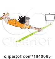 Cartoon Hispanic Business Woman Barely Crossing The Finish Line