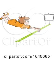 Cartoon White Business Woman Barely Crossing The Finish Line