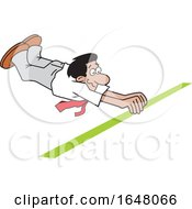 Cartoon Hispanic Business Man Crossing The Finish Line