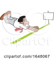 Cartoon Hispanic Business Man Barely Crossing The Finish Line