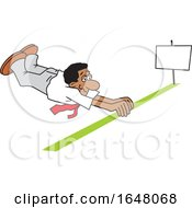 Cartoon Black Business Man Barely Crossing The Finish Line