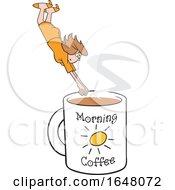 Cartoon White Woman Diving Into A Giant Coffee Mug