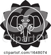 Black And White Elephant Face Icon