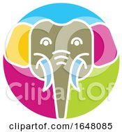Colorful Elephant Face Icon