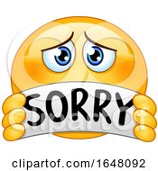 Cartoon Apologetic Emoji Holding A Sorry Banner
