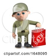 3d Army Soldier Character Holding A Sale Bag