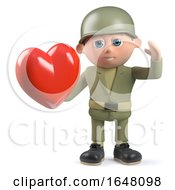 Poster, Art Print Of 3d Army Soldier Character Holding A Romantic Red Heart