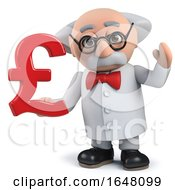 A Crazy Mad Scientist Holding A UK Pounds Sterling Currency Symbol