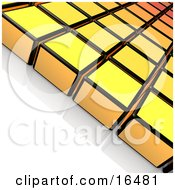 Rows Of Yellow And Black Cubes On A Reflective White Surface