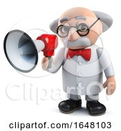 A Mad Scientist Character In 3d Talking Through A Loudhailer Bullhorn