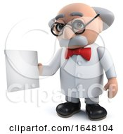 Mad Scientist In 3d Holding An Envelope