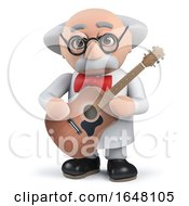 Acoustic Guitar Playing Mad Scientist In 3d