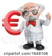 Mad Scientist Character In 3d Holding A Euro Currency Symbol