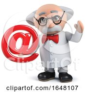 Crazy Mad Scientist Character In 3d Holding An Email Address Symbol