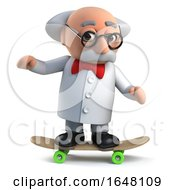 Slightly Mad Scientist Character Riding On A Skateboard