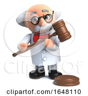 Mad Scientist Holding An Auction Gavel