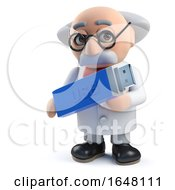 Mad Scientist Character Holding A Usb Thumb Drive Device