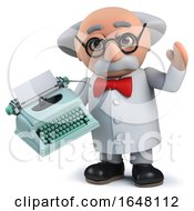 Crazy Mad Scientist Holding An Old Retro Typewriter