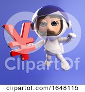A 3d Spaceman Astronaut Floating In Space With A Japanese Yen Currency Symbol