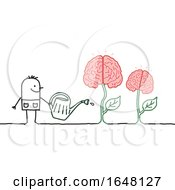 Poster, Art Print Of Stick Man Watering Brain Plants
