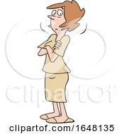 Cartoon Doubtful White Woman With Folded Arms