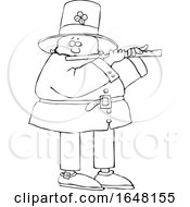 Cartoon Black And White St Patricks Day Leprechaun Playing A Flute