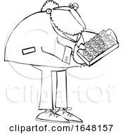 Poster, Art Print Of Cartoon Black And White St Patricks Day Leprechaun Holdinga Tray Of Cookies Or Cakes