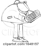 Cartoon Black And White St Patricks Day Leprechaun Holdinga Tray Of Cookies Or Cakes