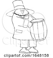 Cartoon Black And White St Patricks Day Leprechaun Carrying A Barrel
