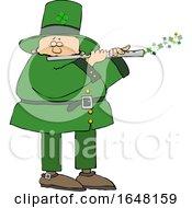 Poster, Art Print Of Cartoon St Patricks Day Leprechaun Playing A Flute