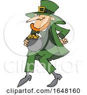 Cartoon St Patricks Day Leprechaun With A Pot Of Gold
