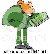 Cartoon St Patricks Day Leprechaun Holdinga Tray Of Cookies Or Cakes